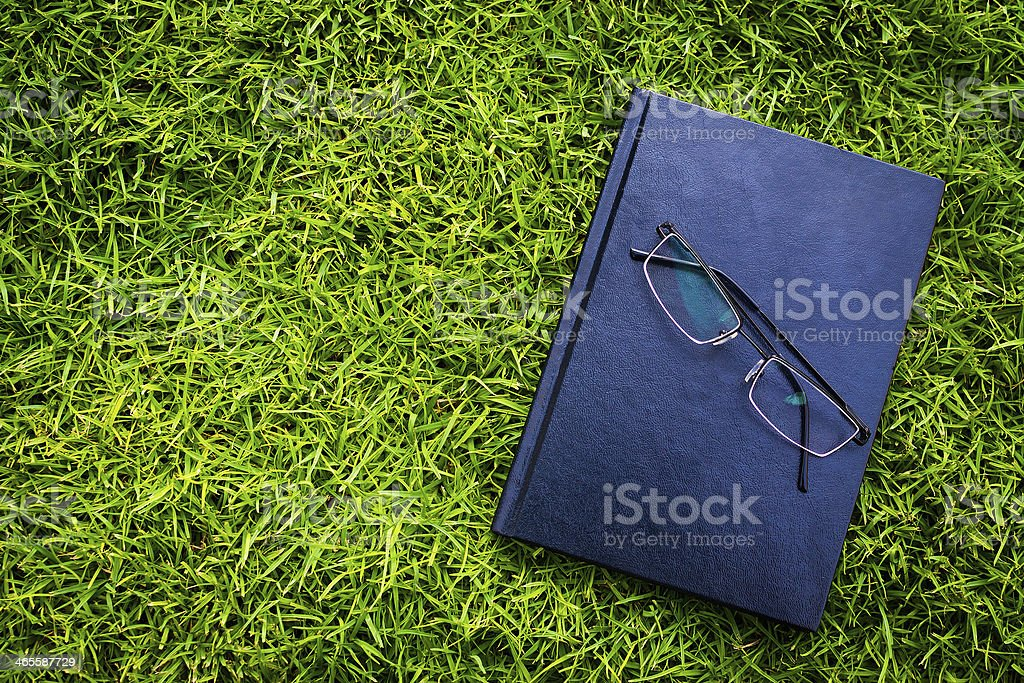 Black book on grass with spectacles royalty-free stock photo
