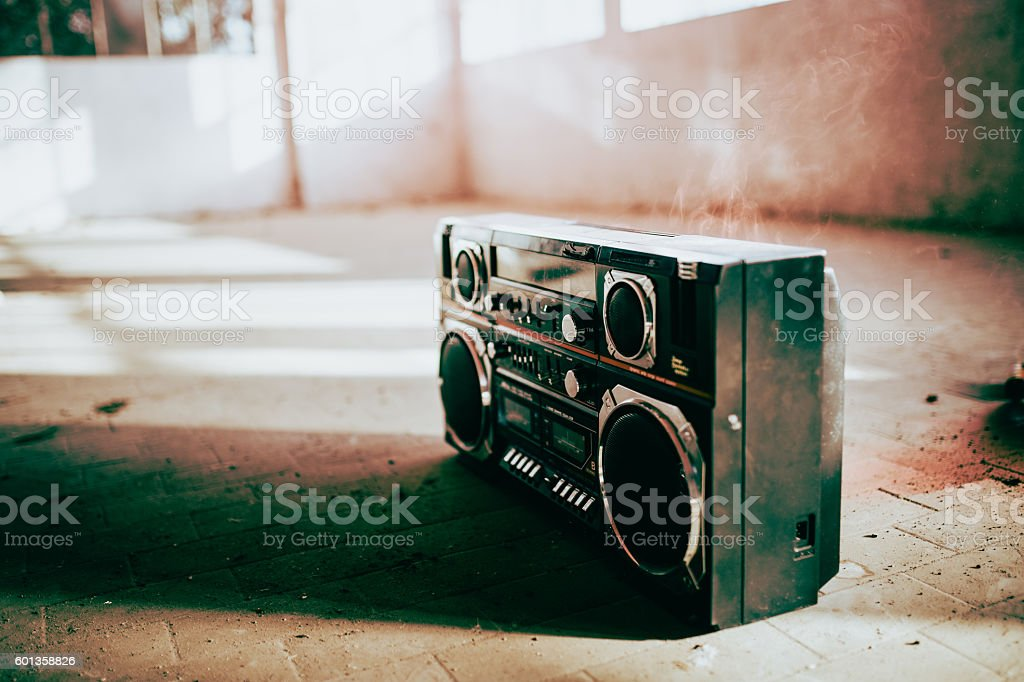 Black boom box isolated stock photo