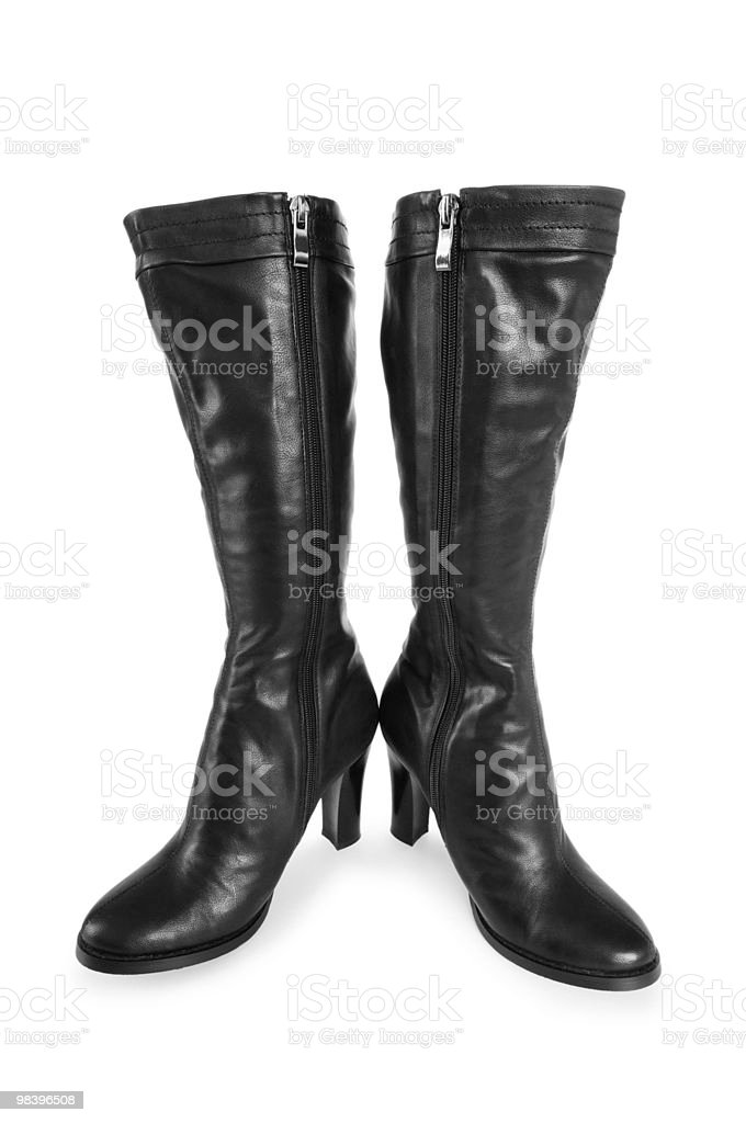 Black boots isolated on the white background stock photo