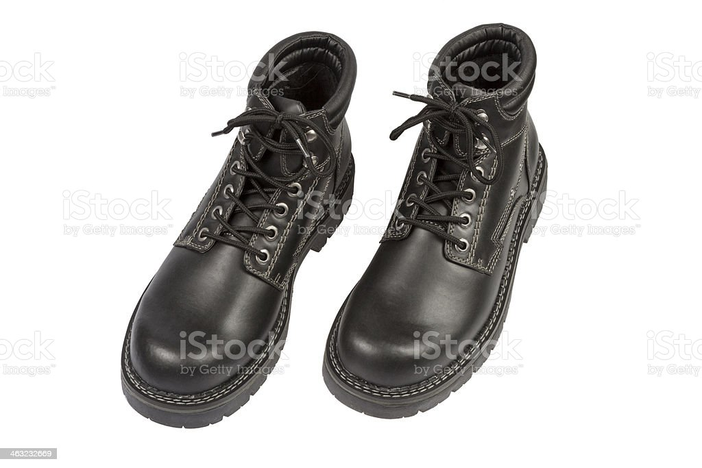 Black Boots on White stock photo