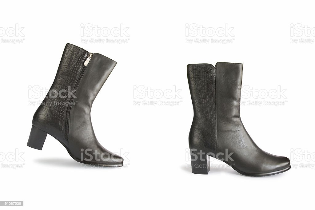 Black boots - one step royalty-free stock photo