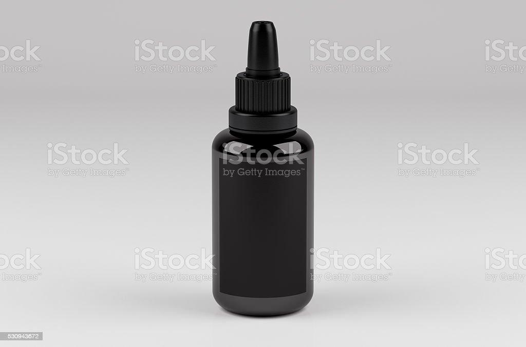 Black bottle. 3d render. stock photo