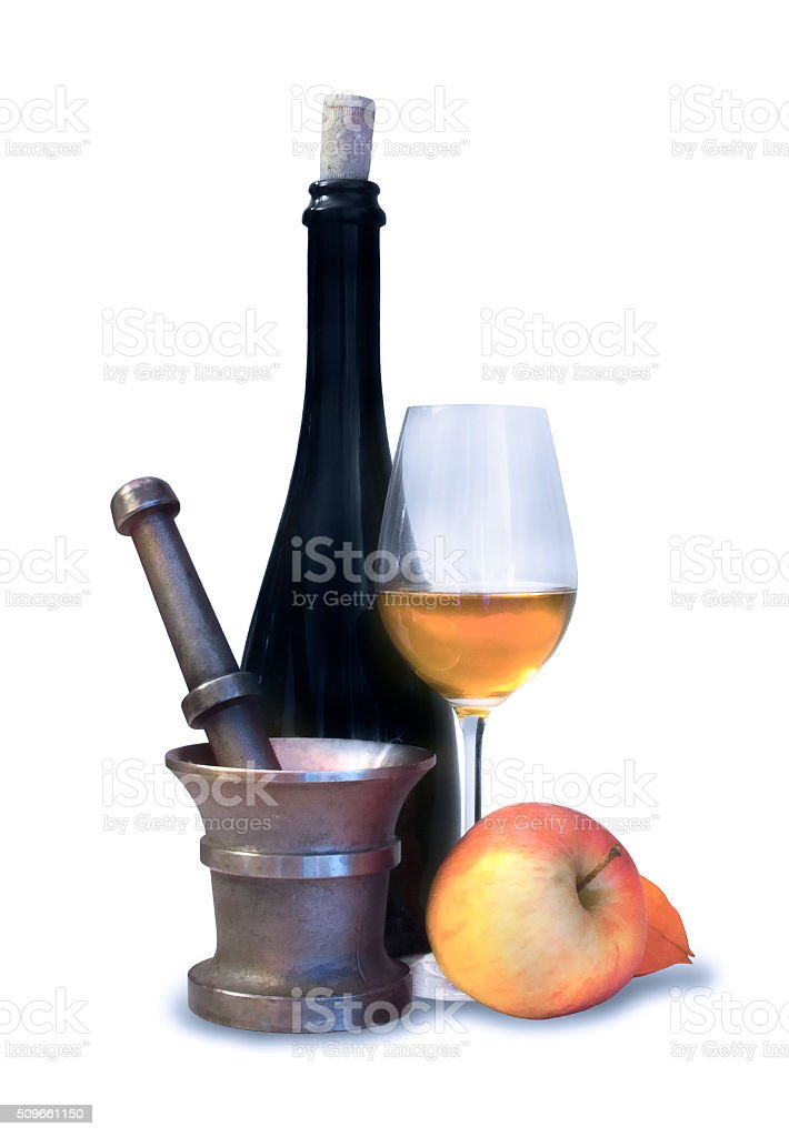 Black bottle and pounder with glass of wine and apple stock photo