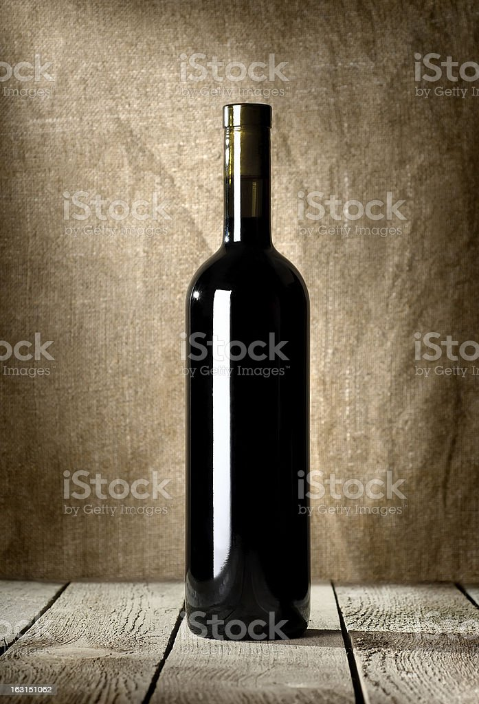 Black bottle of red wine royalty-free stock photo