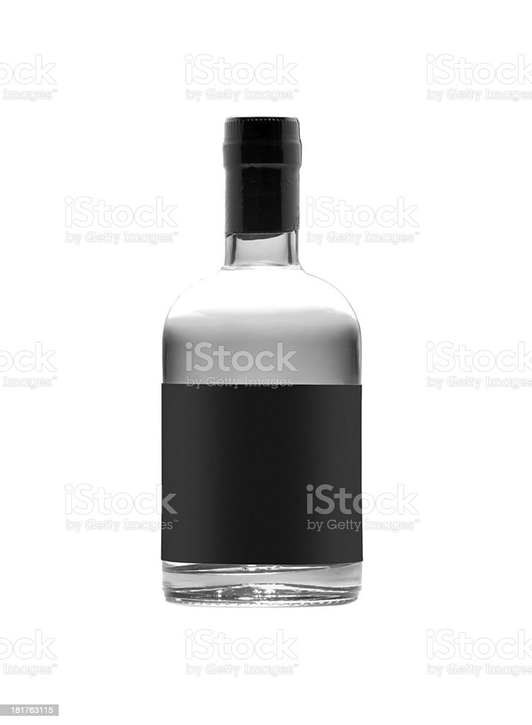 black bottle of whiskey isolated on white background royalty-free stock photo