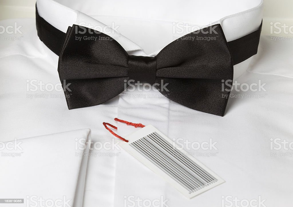 Black bow tie and white shirt royalty-free stock photo
