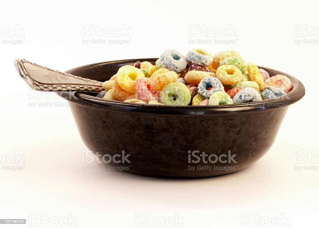 Black Bowl Colorful Cereal royalty-free stock photo
