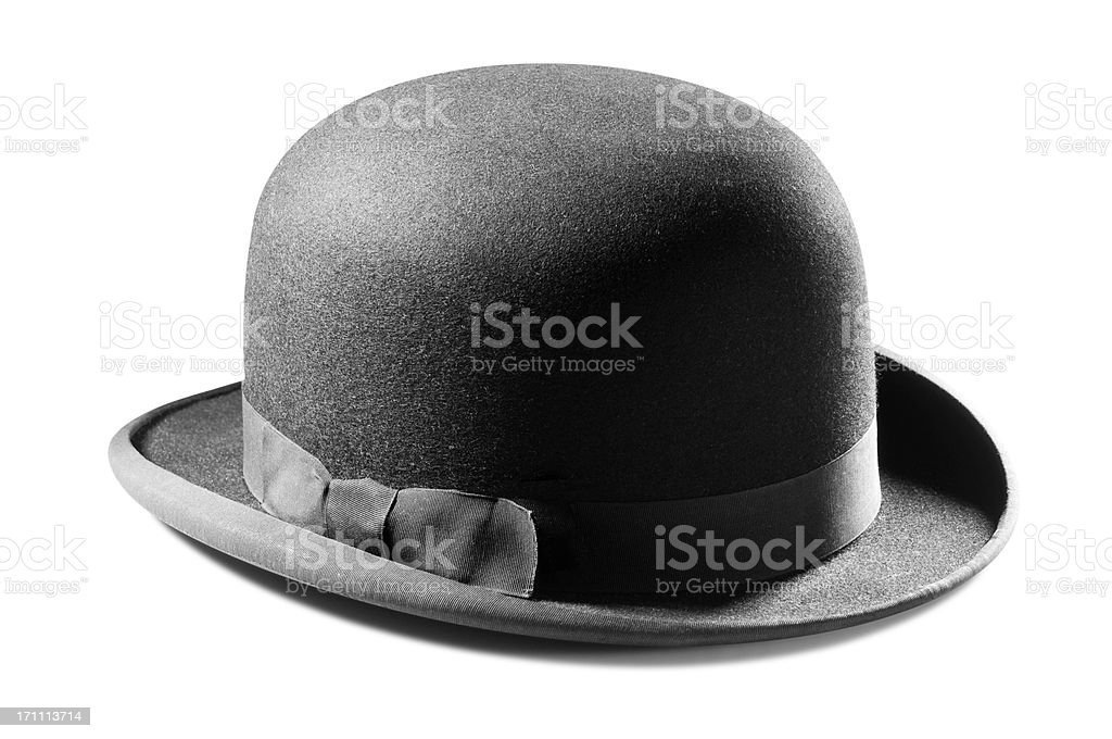 Black bowler hat isolated on a white background royalty-free stock photo