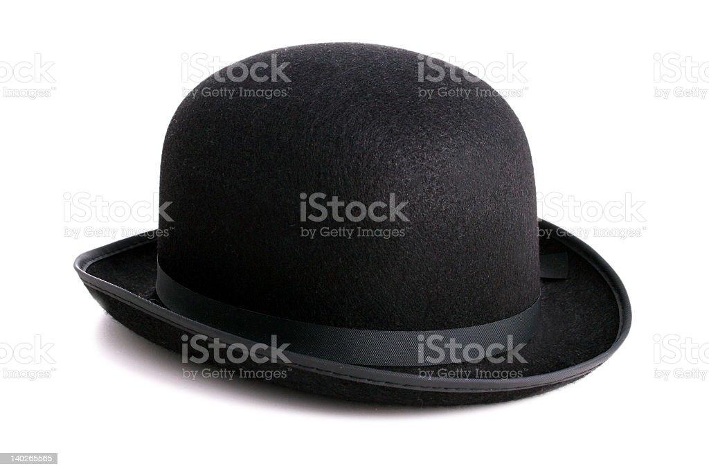 Black bowler hat isolated on white background stock photo