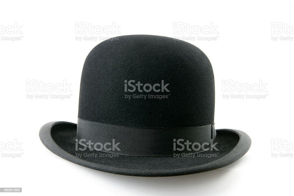 A black bowler hat on a white background stock photo