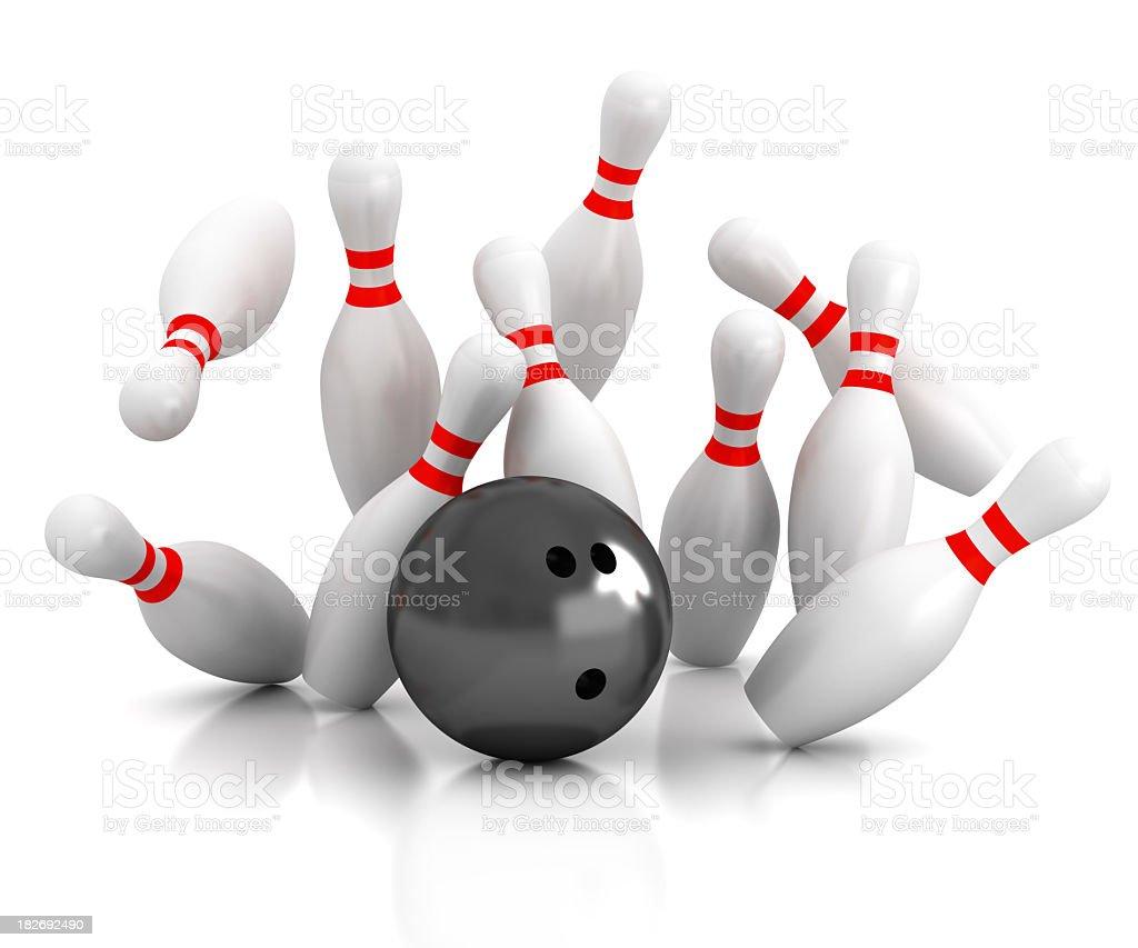 Black bowling ball striking bowling pins royalty-free stock photo