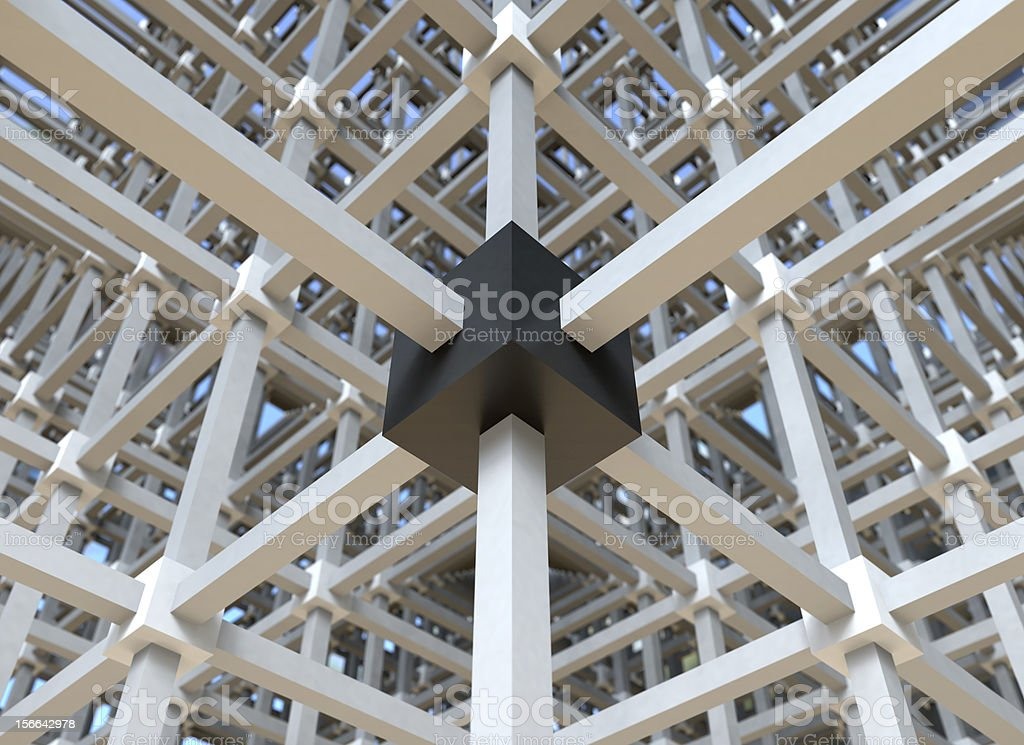 Black box in a network structure stock photo