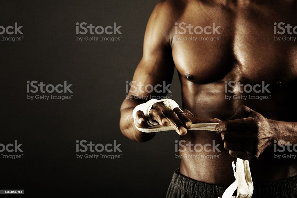 Black boxer stock photo
