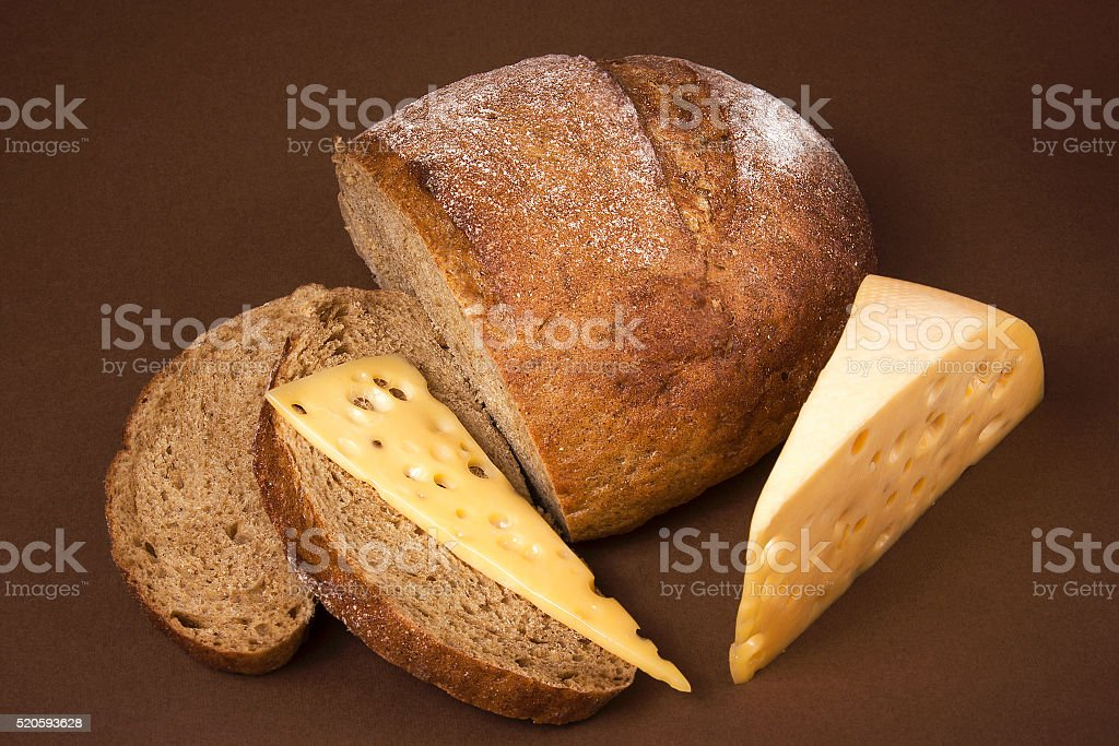 Black bread and cheese stock photo
