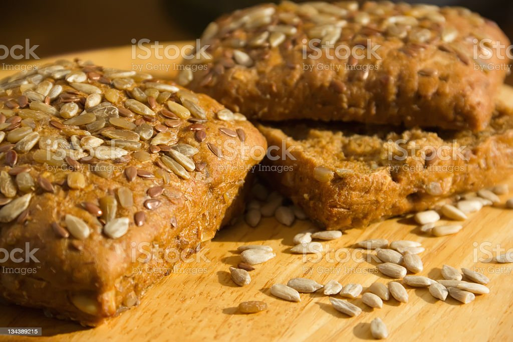 Black bread with sunflower seeds and flax royalty-free stock photo