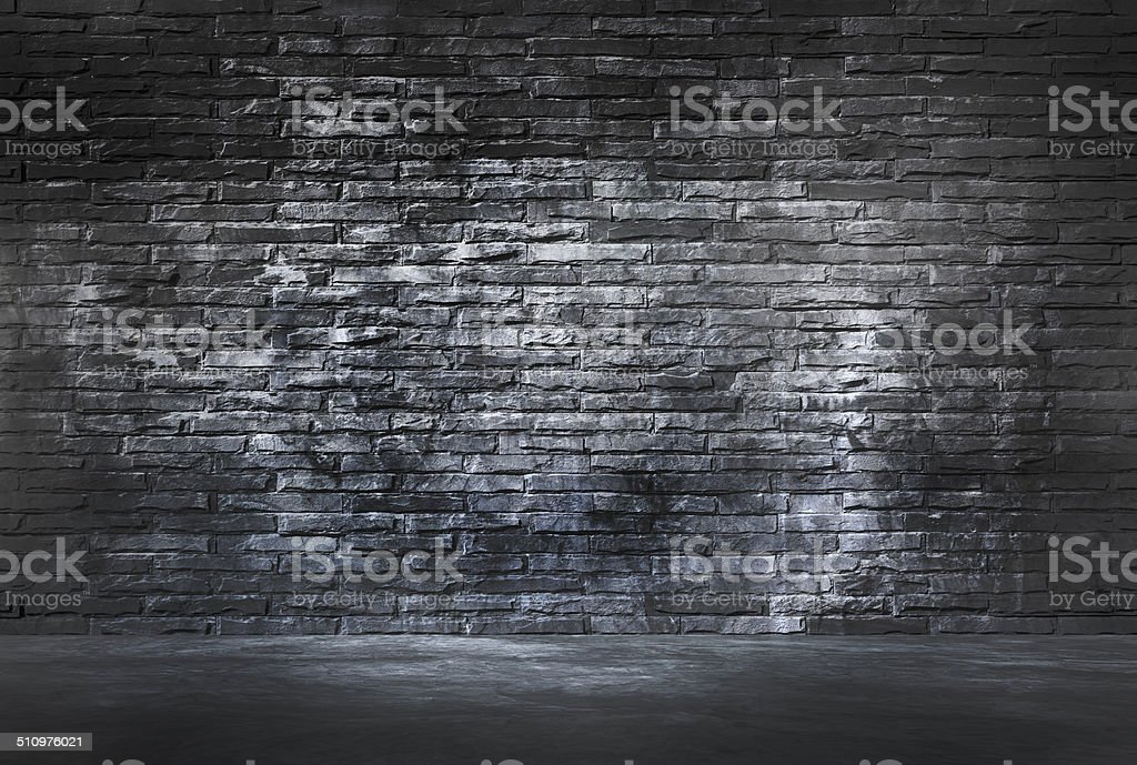 Black Brick Wall and Cement Floor stock photo
