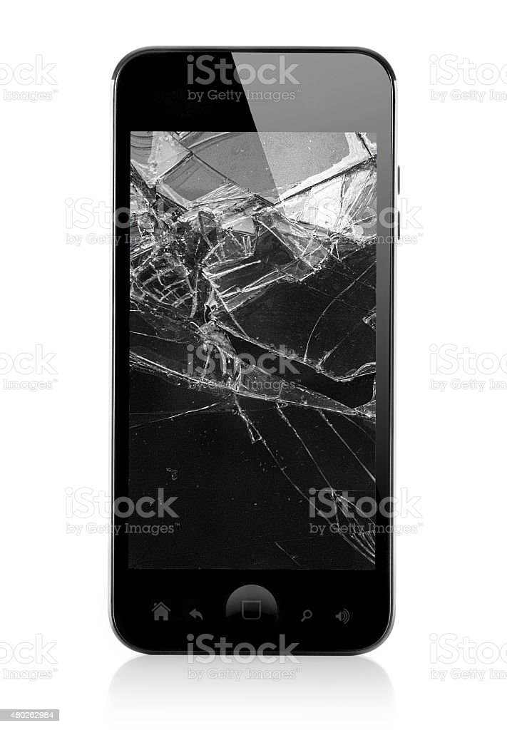 black broken smart phone stock photo