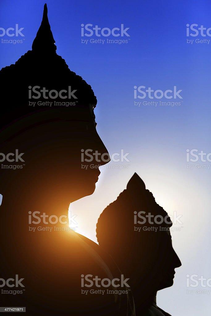 Schwarze buddha-silhouette Lizenzfreies stock-foto