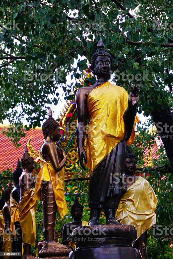 Black buddha statues stock photo