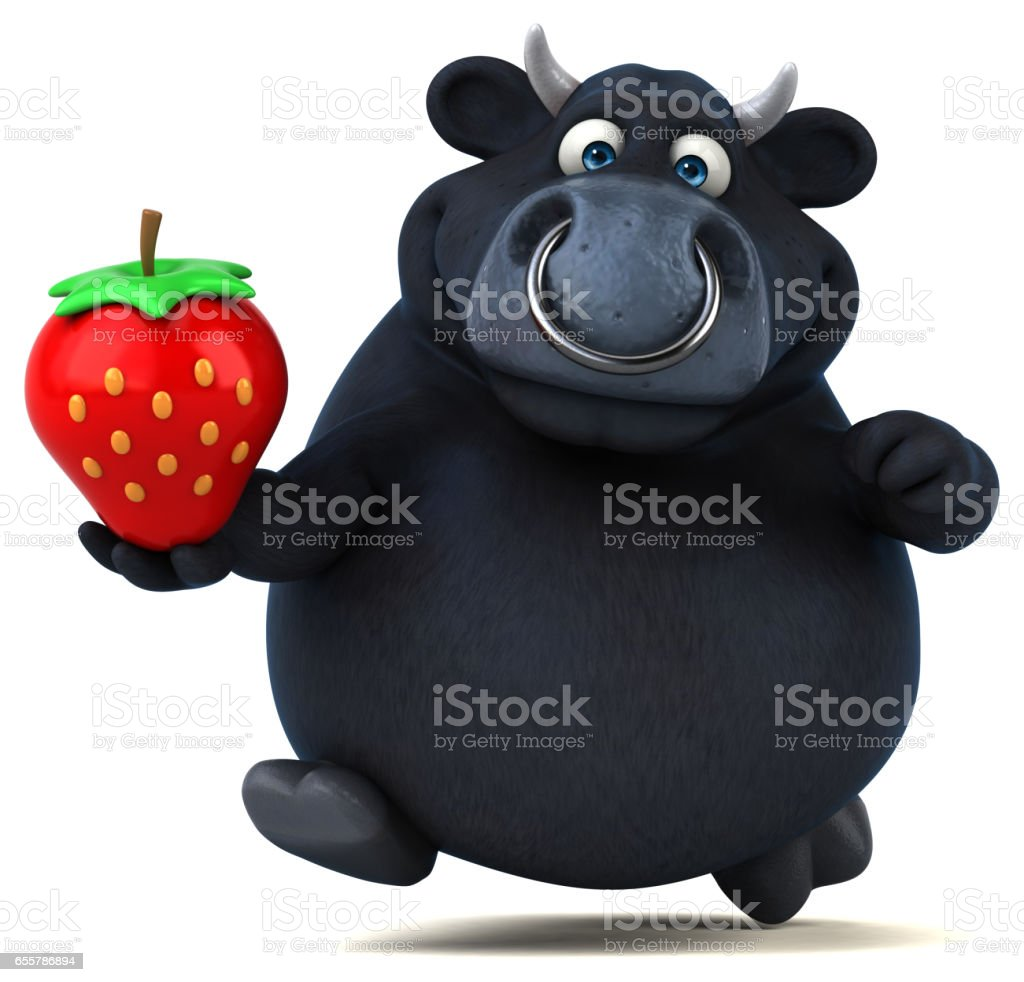 Black bull - 3D Illustration stock photo