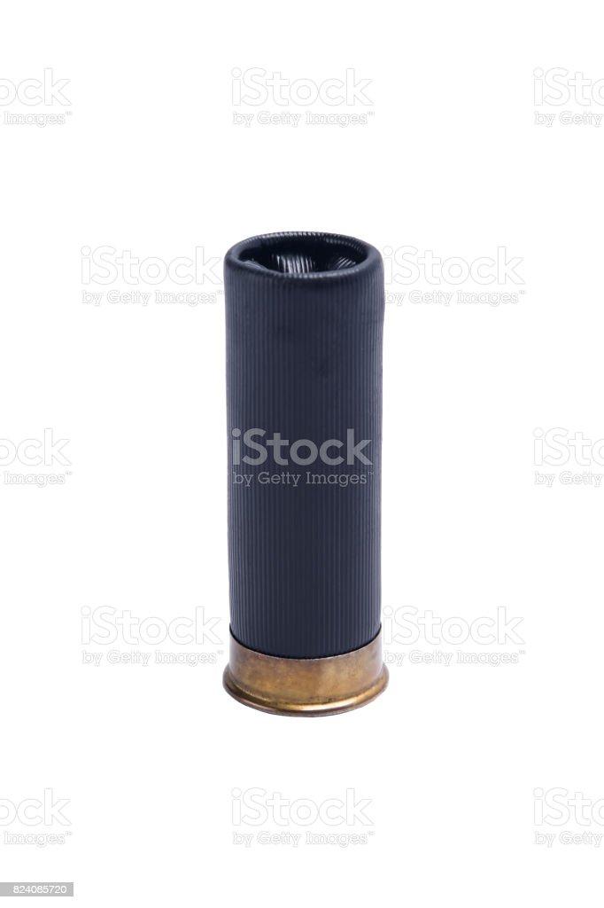Black bullet for shotgun with large shot, on white background stock photo