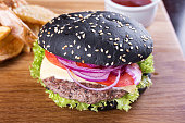 black burger on the board