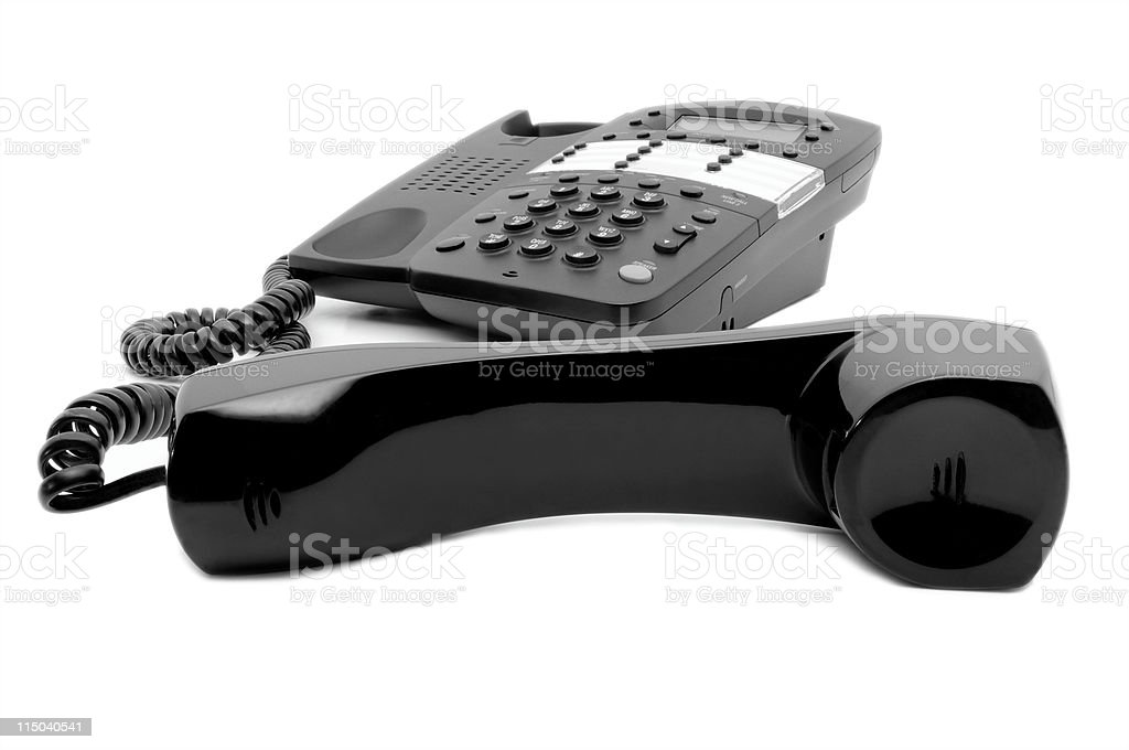 Black Business Phone off the Hook Isolated on White Background royalty-free stock photo