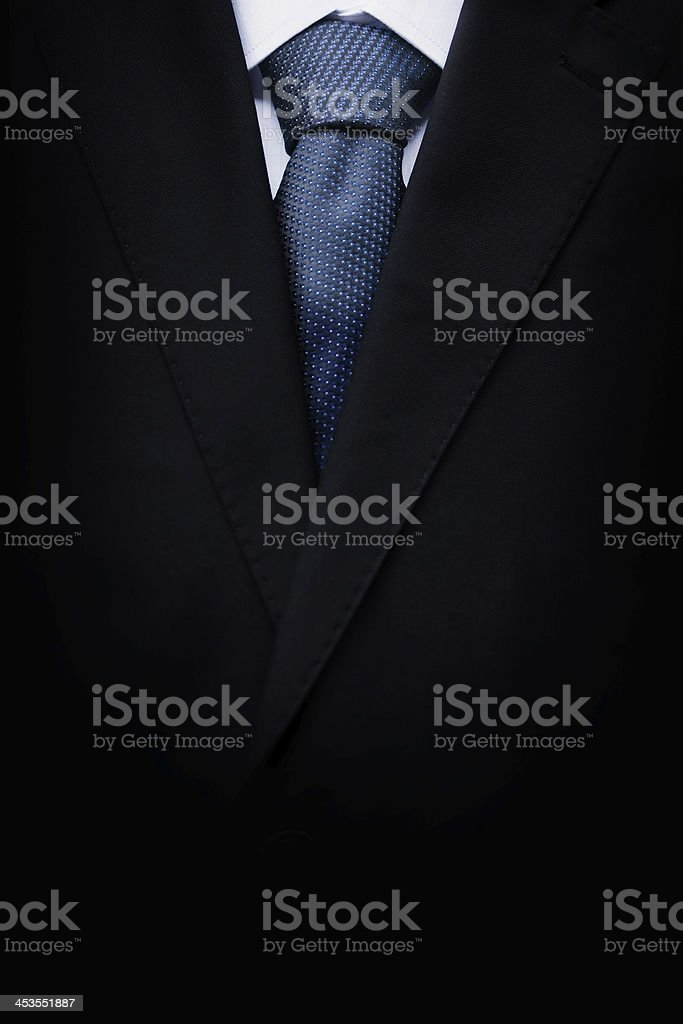 Black business suit with a tie stock photo