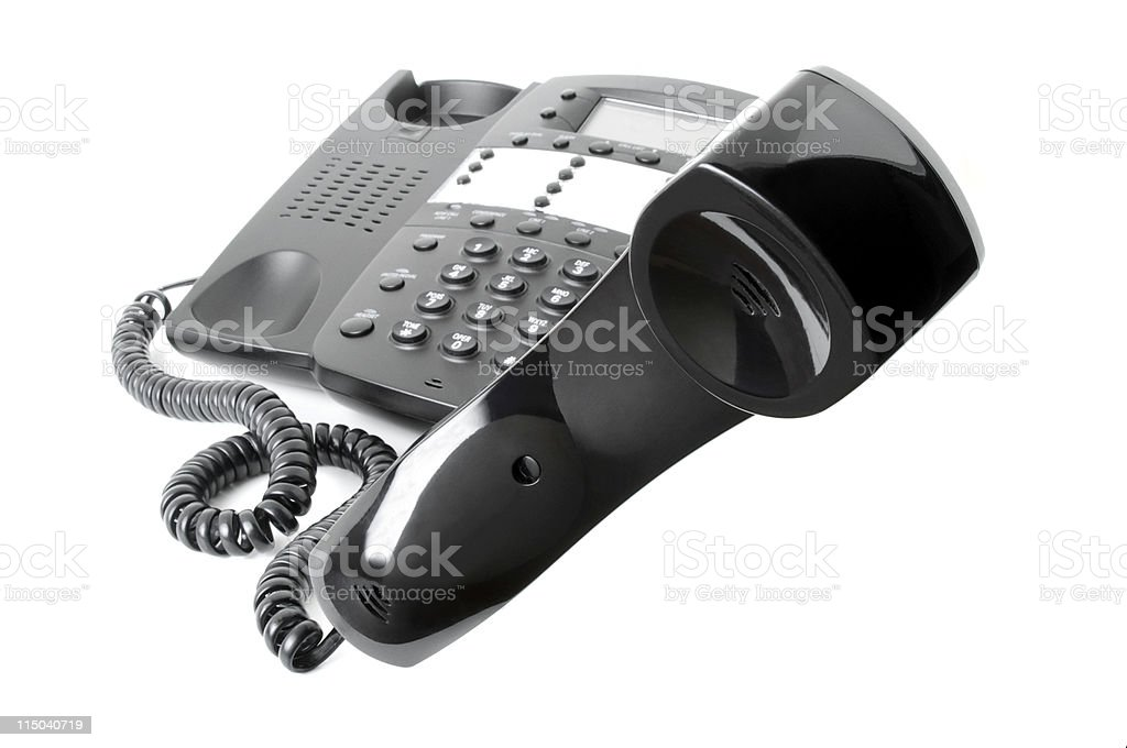Black Business Telephone Off The Hook Isolated on White Background royalty-free stock photo
