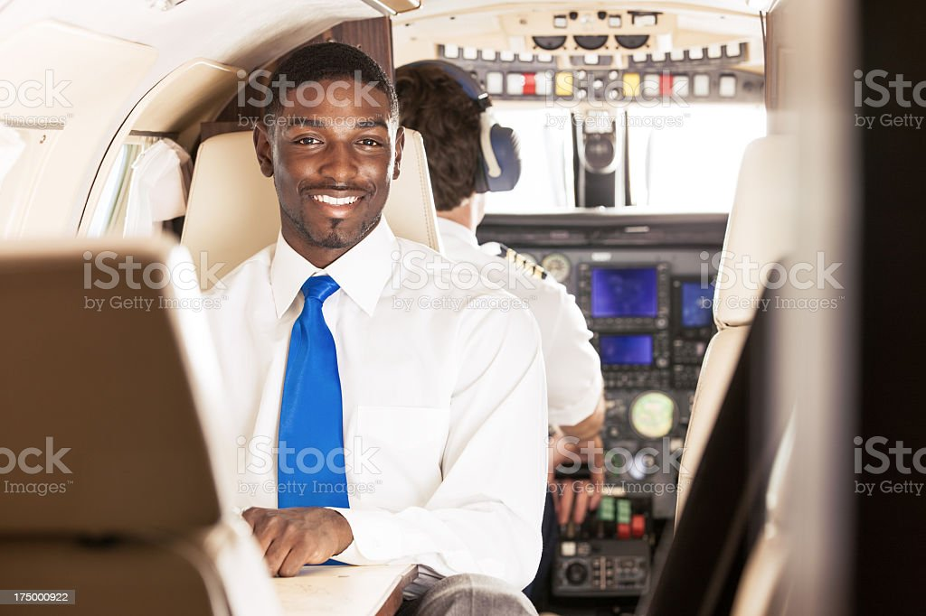 Black Businessman on Private Jet royalty-free stock photo