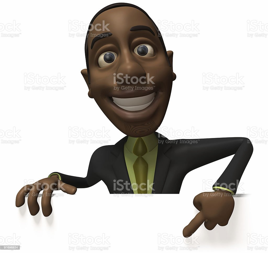 Black businessman with a blank sign royalty-free stock photo