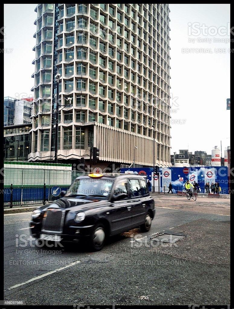 Black Cab, Centrepoint, London, UK. stock photo