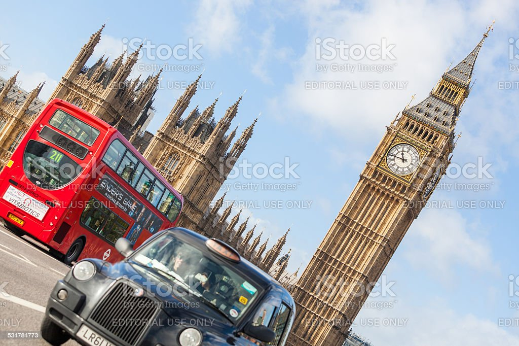 Black Cab with Big Ben on background stock photo