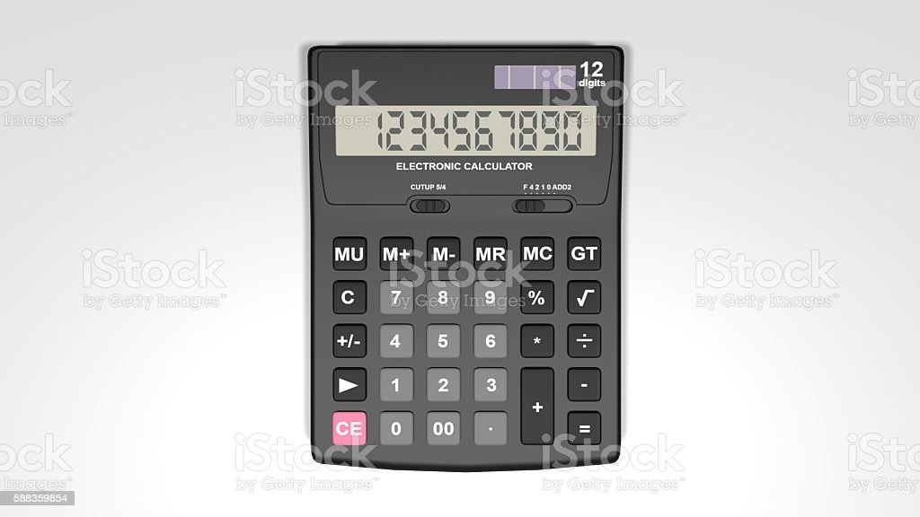 Black calculator isolated on a White background stock photo