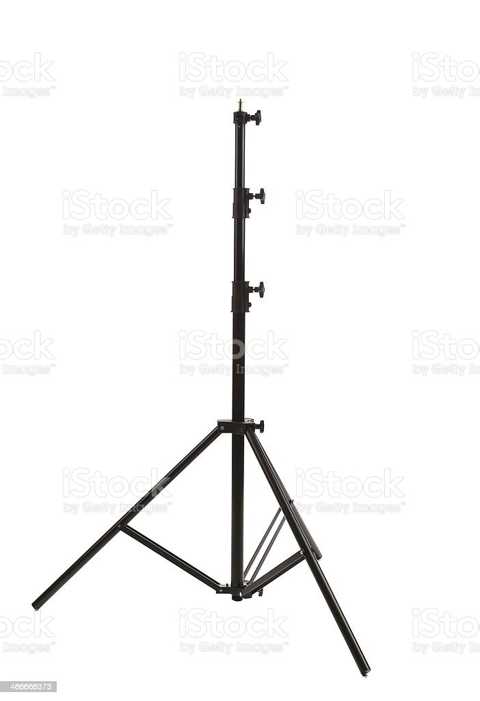 Black camera tripod. stock photo