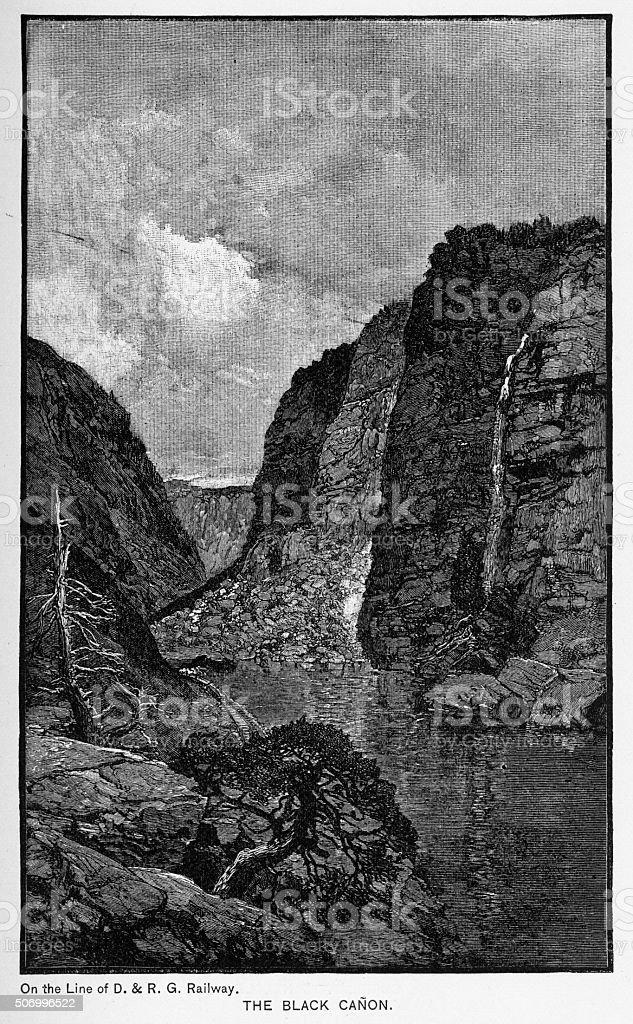 Black Canyon of the Arkansas River Victorian Engraving stock photo