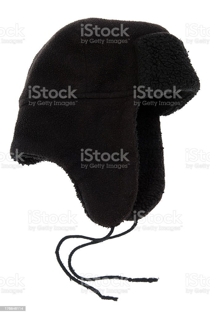 black cap with ear flaps stock photo