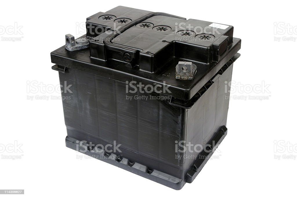 Black Car Battery Isolated On White stock photo