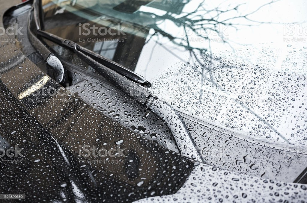 Black car hood fragment and windshield wipers stock photo