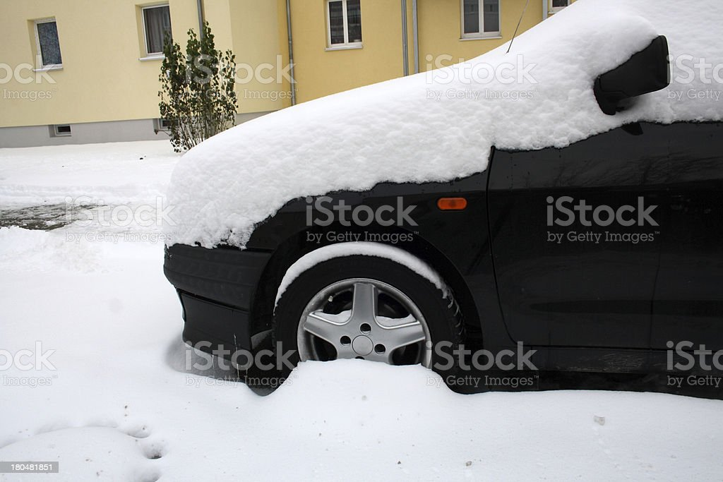 black car in winter royalty-free stock photo