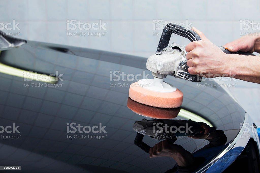 black car is polishing stock photo