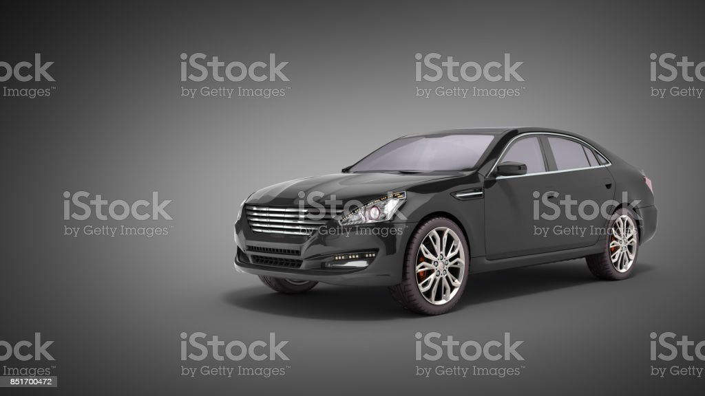 black car studio view 3d render on white background stock photo
