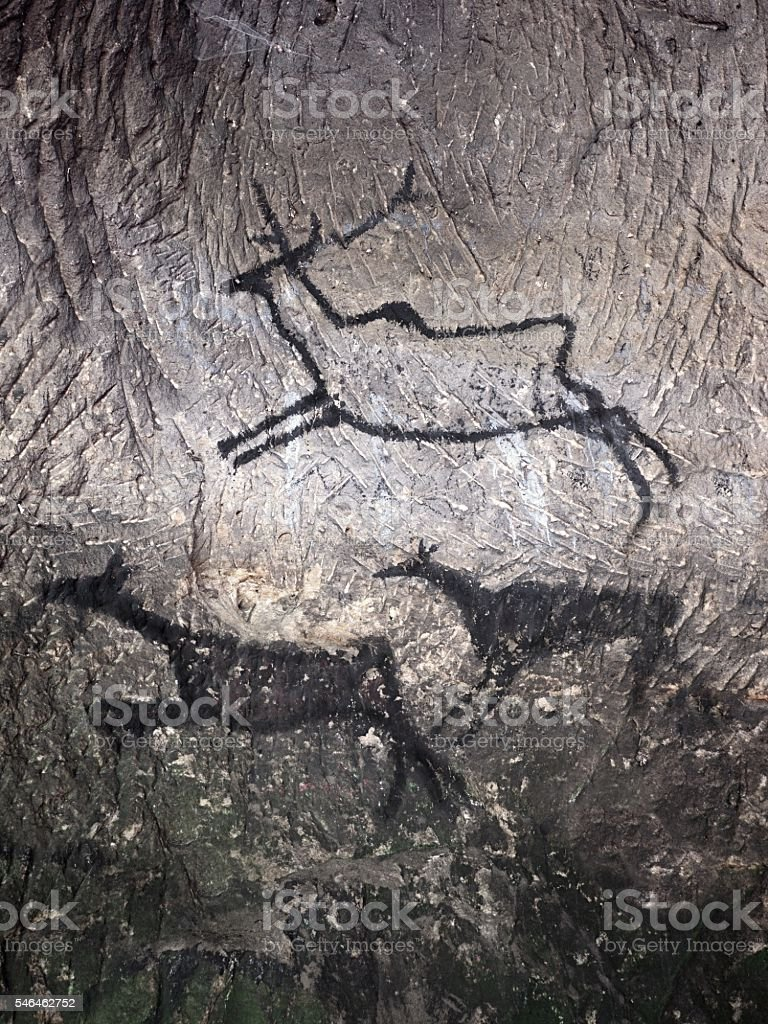 Black carbon paint of deer on sandstone wall, prehistoric picture stock photo
