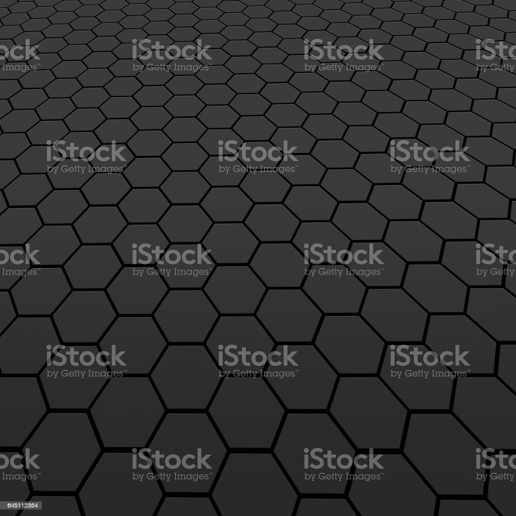 Black carbon seamless pattern with hexagons background stock photo