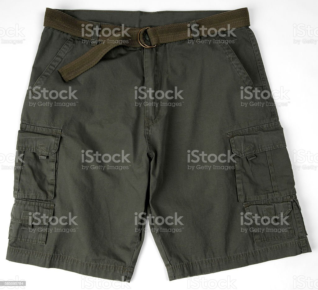 black cargo shorts with a belt stock photo