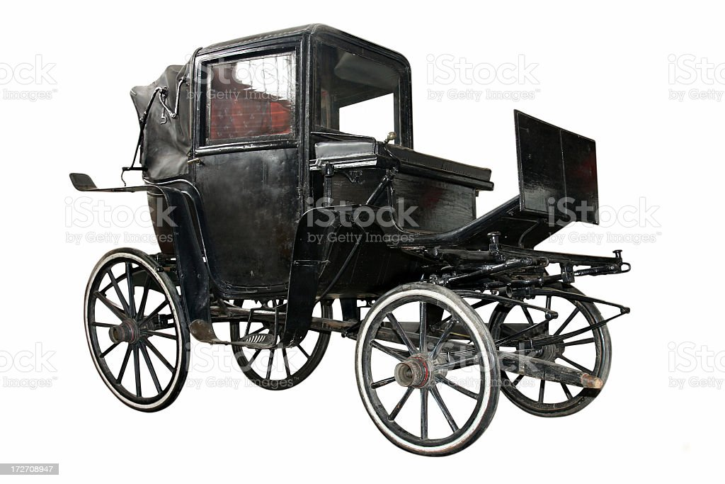 Black carriage without horse pulling it stock photo