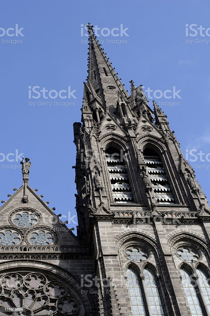 Black cathedral of Clermont Ferrand France stock photo