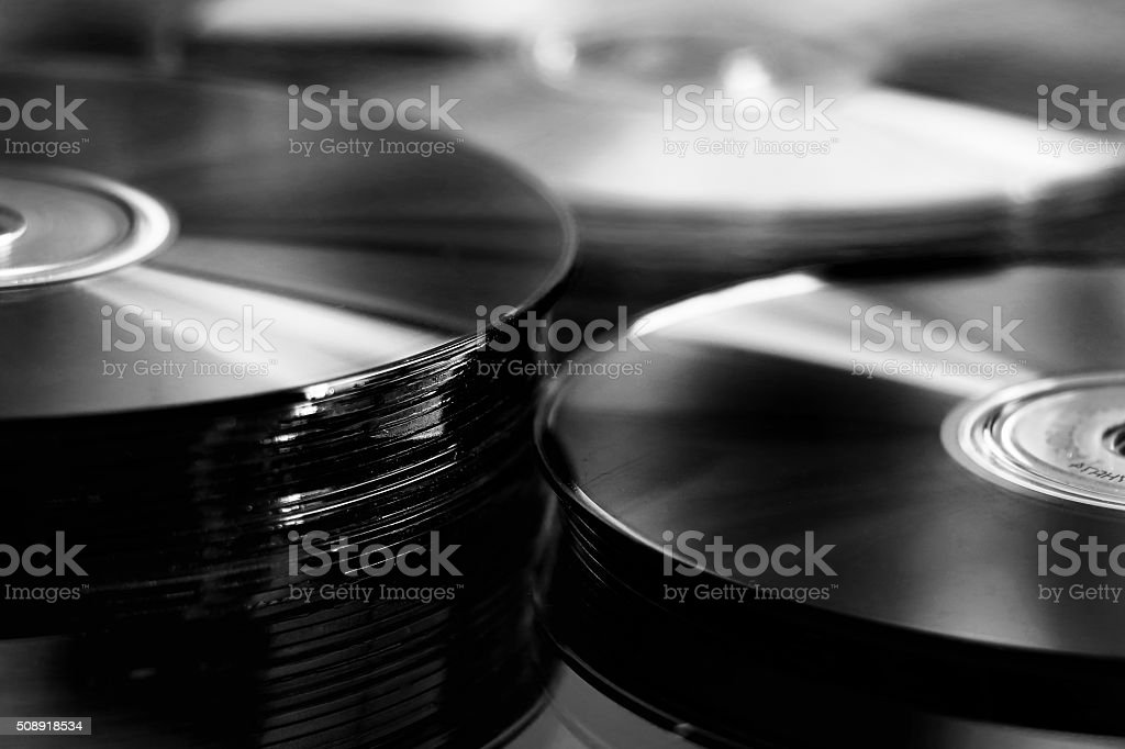 Black cd stack stock photo