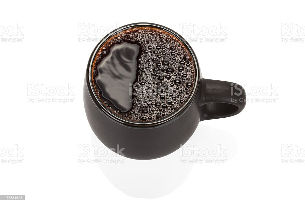 Black ceramic cup isolated on white background royalty-free stock photo