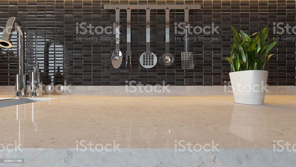 black ceramic modern kitchen design background stock photo